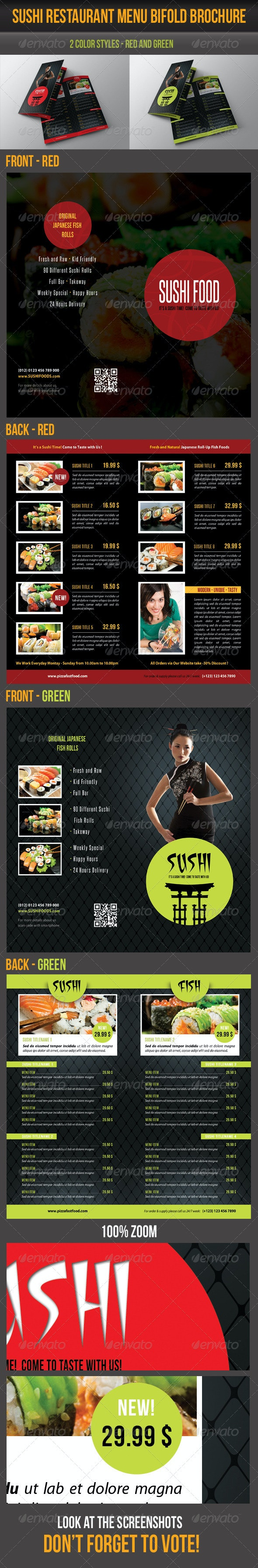 Multiuse Bifold Brochure 65 - Food Menus Print Templates
