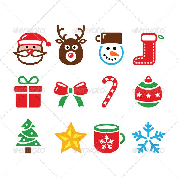 Christmas Colorful Icons Set - Christmas Seasons/Holidays