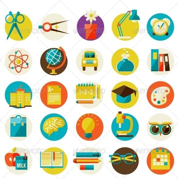 Set of Flat School Icons - Web Elements Vectors