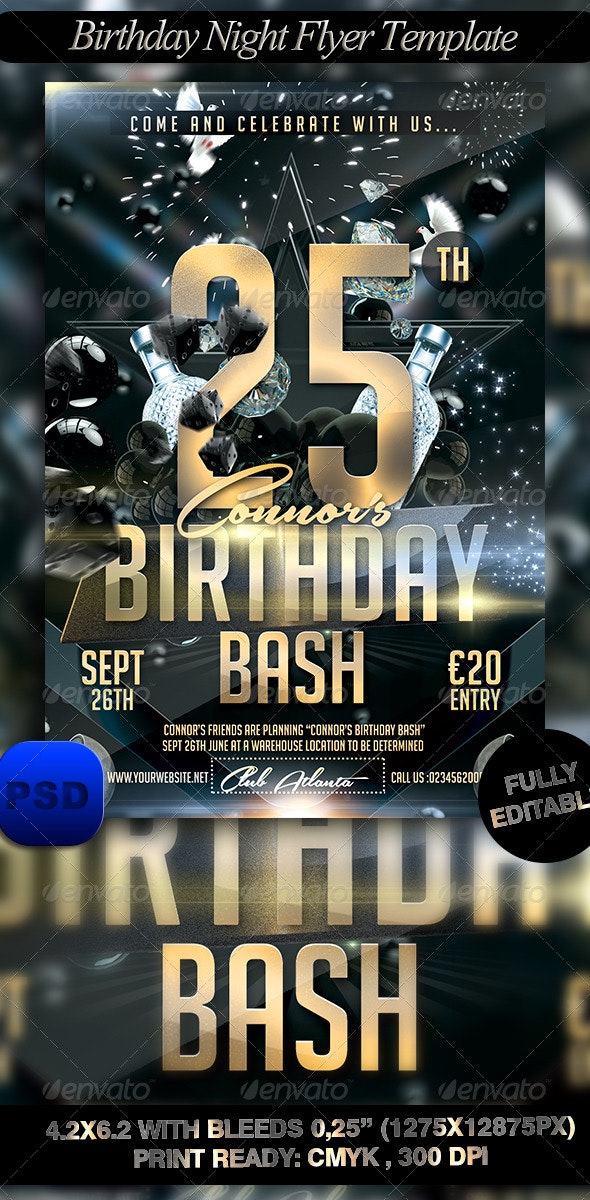 Birthday Night Flyer Template - Events Flyers