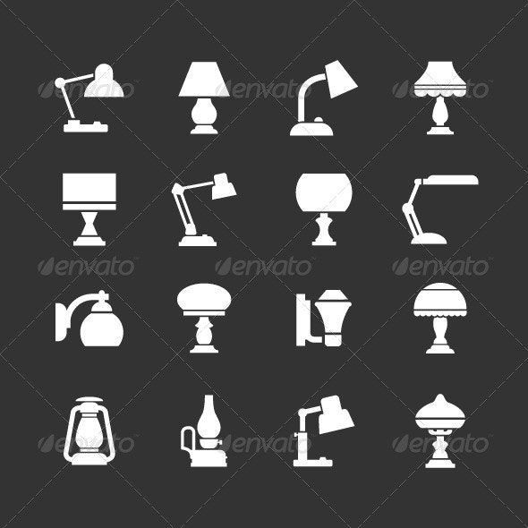 Set Icons of Lamps - Man-made objects Objects