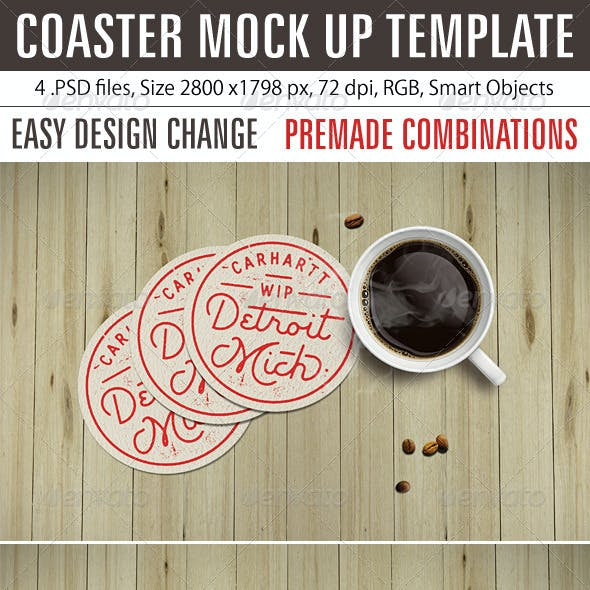 Coaster Mock Up Template