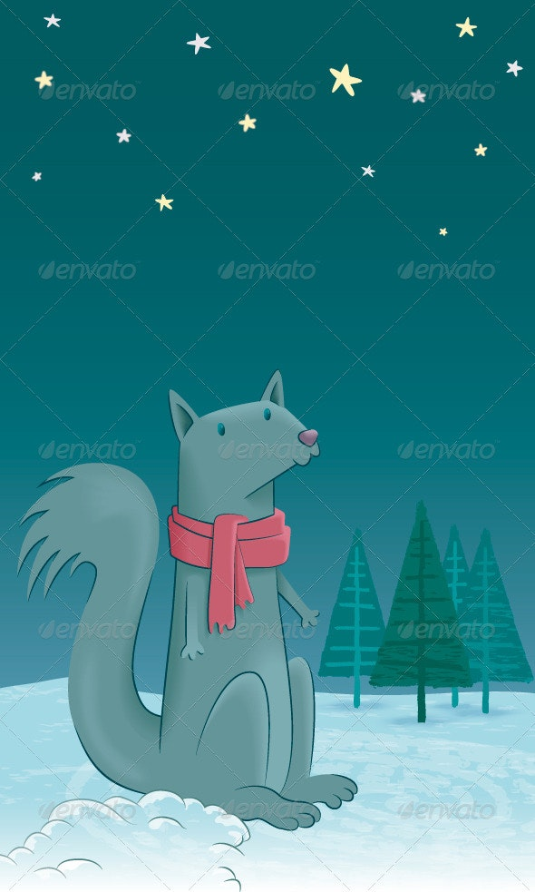 A Squirrel in the Snow - Animals Characters