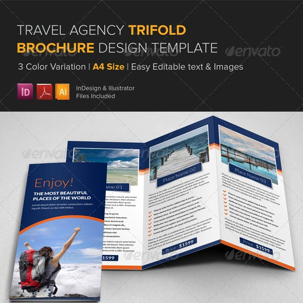 Travel Agency Trifold Brochure Template