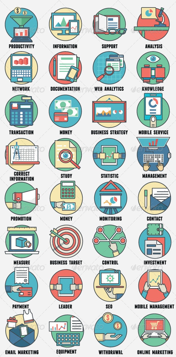 Business Management and Analytics Icons - Business Icons