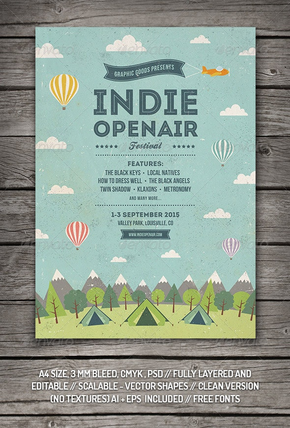 Indie Open-air Festival Flyer/Poster - Concerts Events