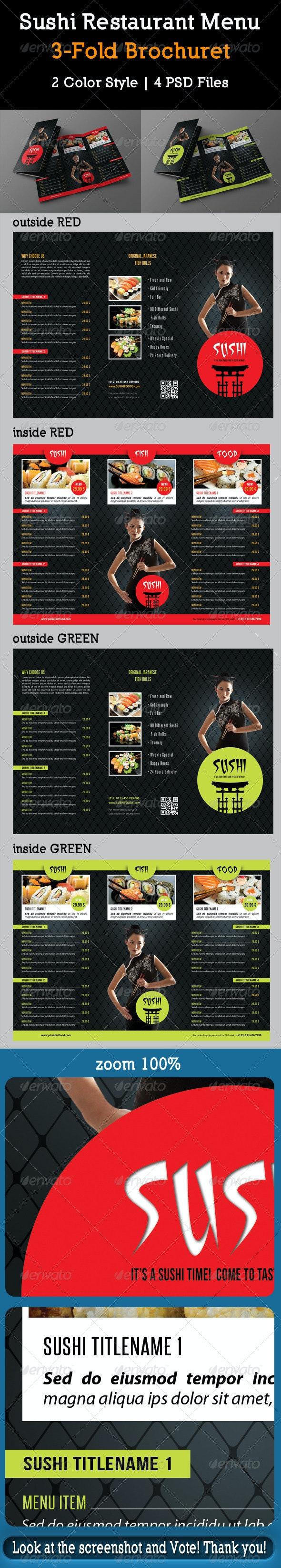 Sushi Restaurant Menu 3-Fold Brochure 03 - Food Menus Print Templates
