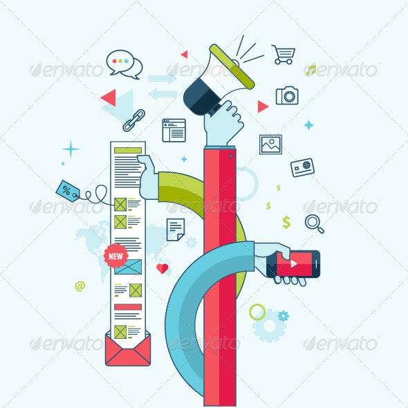Flat Line Concept for Internet Marketing - Technology Conceptual