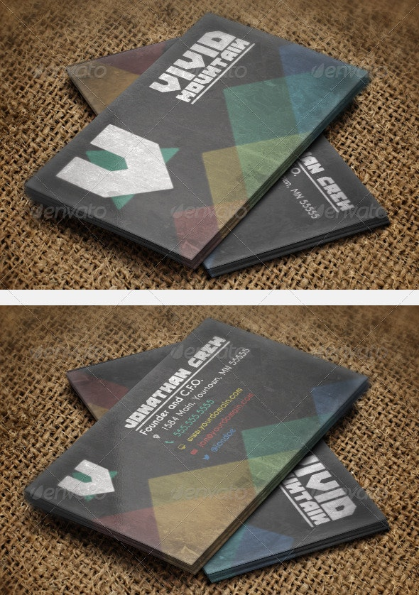 Vivid Mountains Business Card - Grunge Business Cards