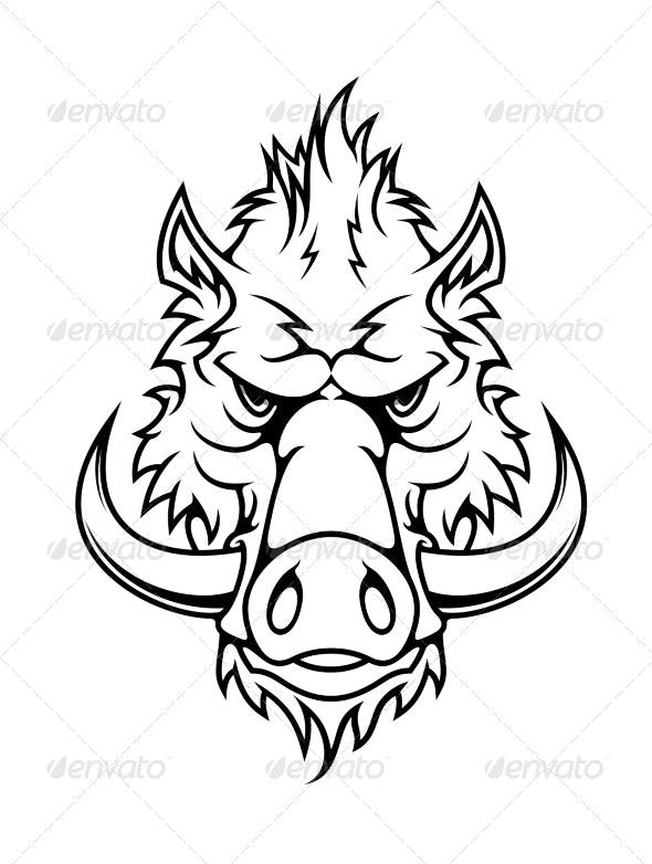 Head of a Fierce Wild Boar - Animals Characters