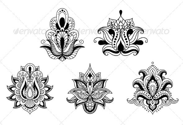 Persian Style Floral Motifs - Flourishes / Swirls Decorative