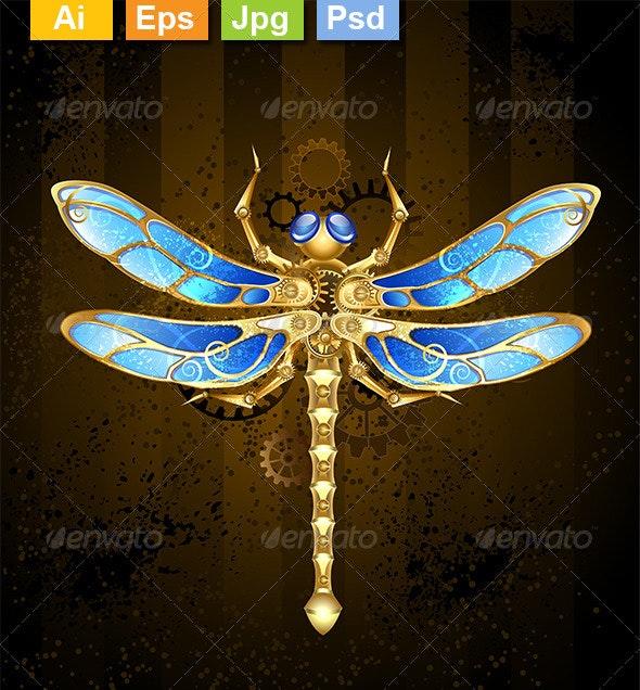 Mechanical Dragonfly - Decorative Vectors