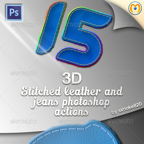 3D Stitched Leather & Jeans Photoshop Actions