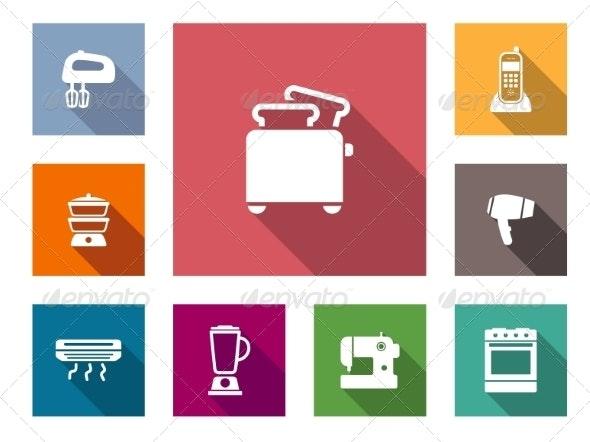 Flat Home Appliances Icons - Miscellaneous Vectors