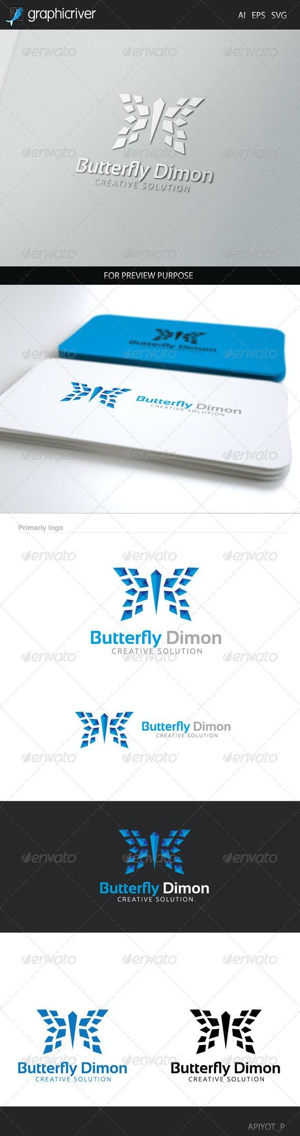 Butterfly Dimon Logo - Animals Logo Templates