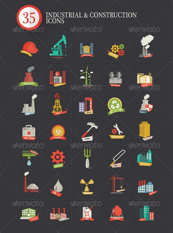 35 Industrial & Construction Icons - Buildings Objects