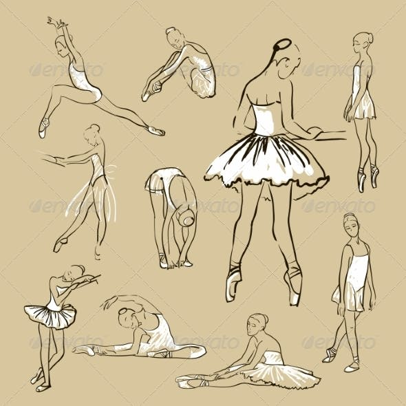 Vector Sketch of Girl's Ballerinas Set