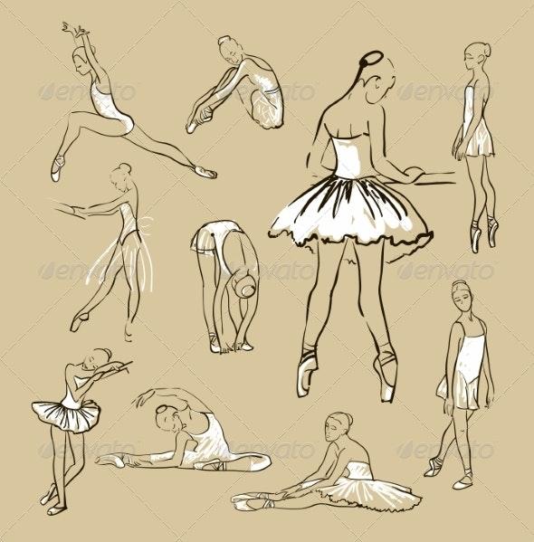Vector Sketch of Girl's Ballerinas Set - People Characters