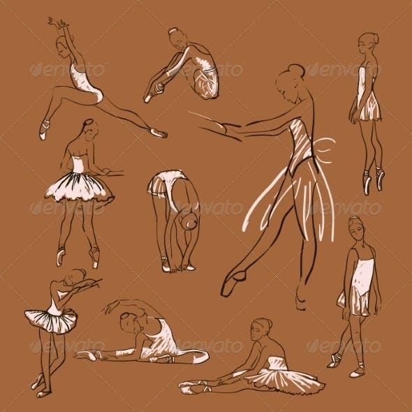 Vector Sketch of Girl's Ballerinas Set
