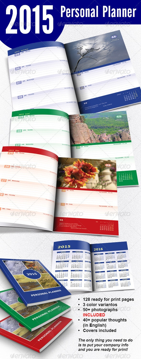 2015 Weekly Personal Planner - Calendars Stationery