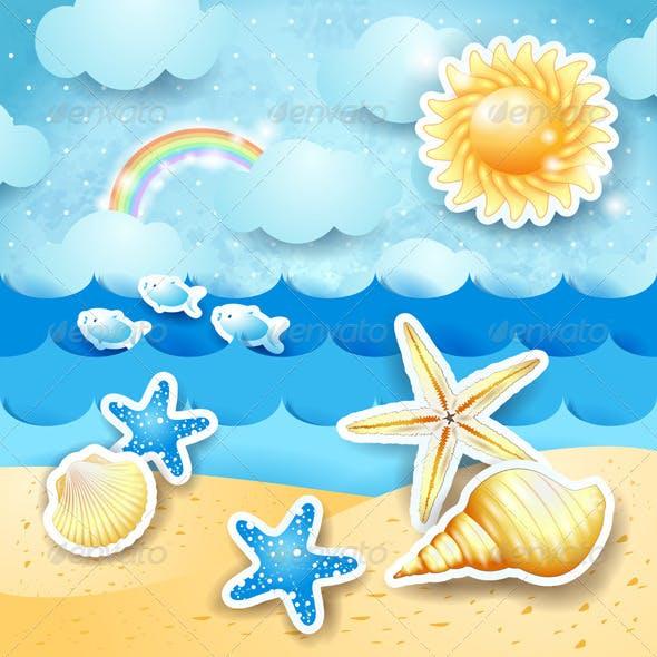 Seascape with Sun and Seashells