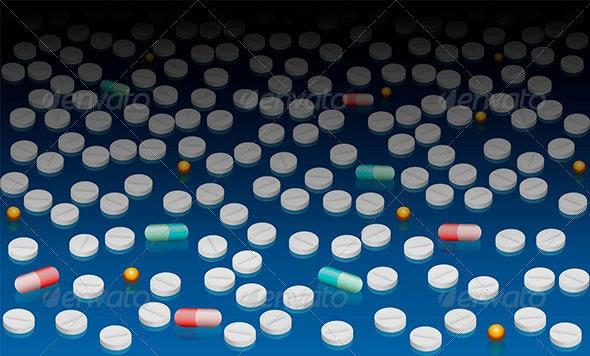 Pills Wallpaper Blue Black Gradient - Health/Medicine Conceptual