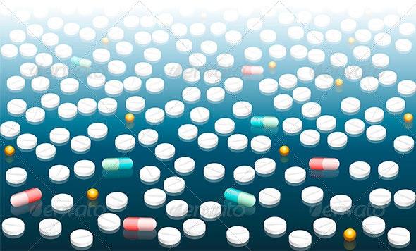 Pills Wallpaper Blue White Gradient - Health/Medicine Conceptual