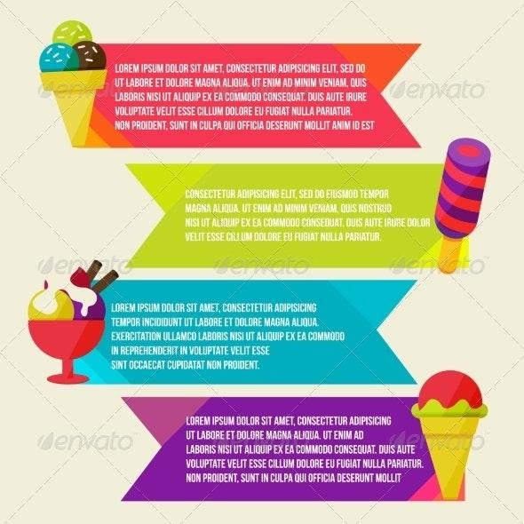Decorative Ice Cream Paper Banners Set - Backgrounds Decorative
