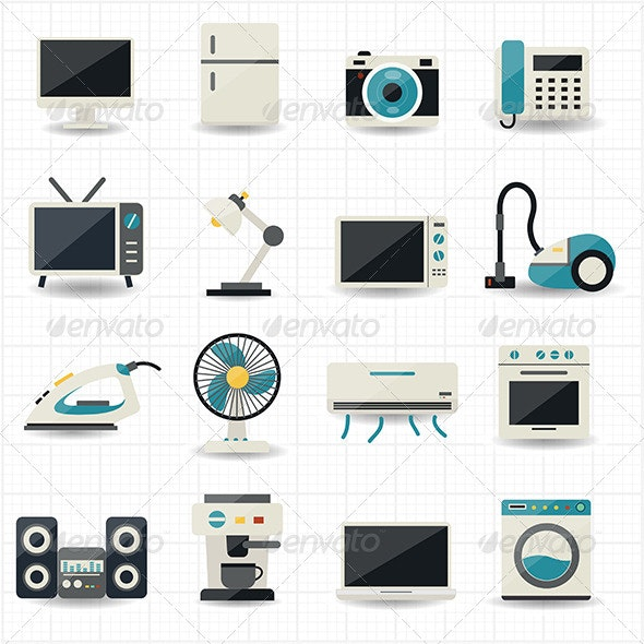 Household Appliances and Electronic Devices Icons - Technology Icons