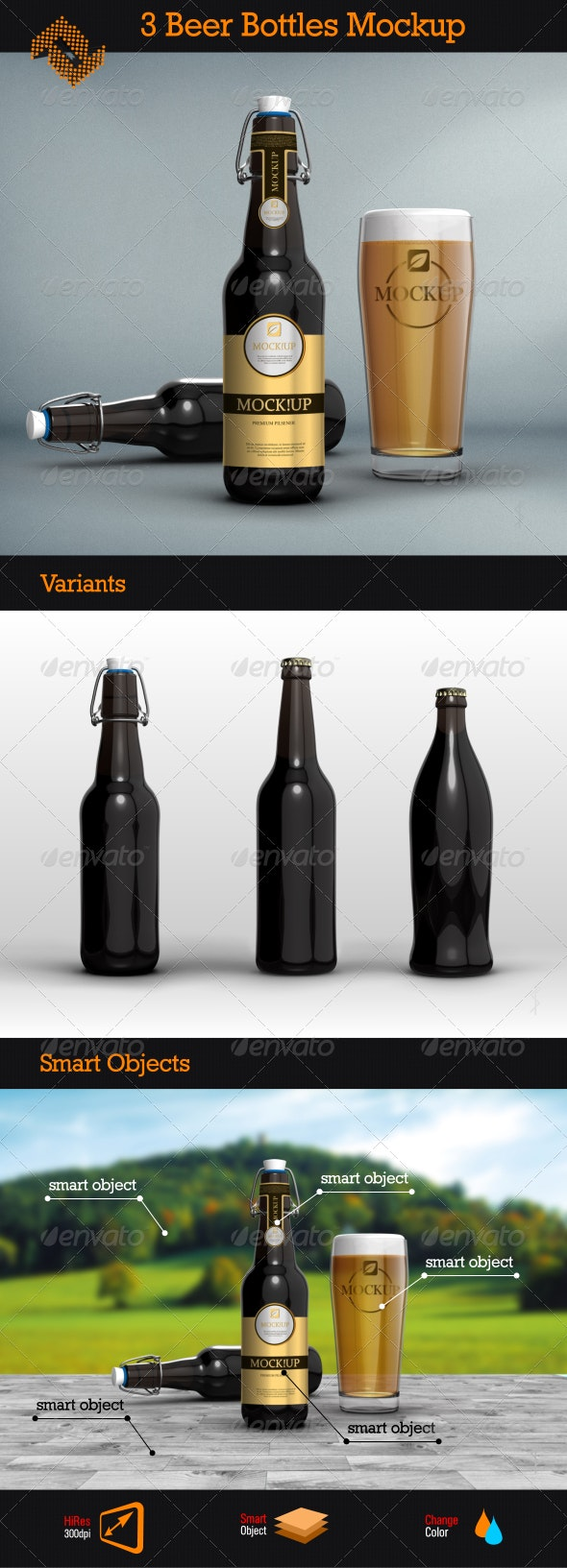 3 Beer Bottles Mockups - Food and Drink Packaging