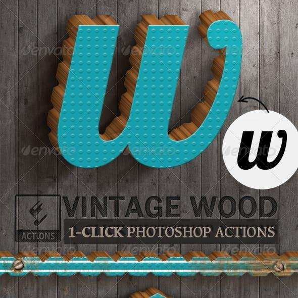 3D Vintage Wood Photoshop Actions