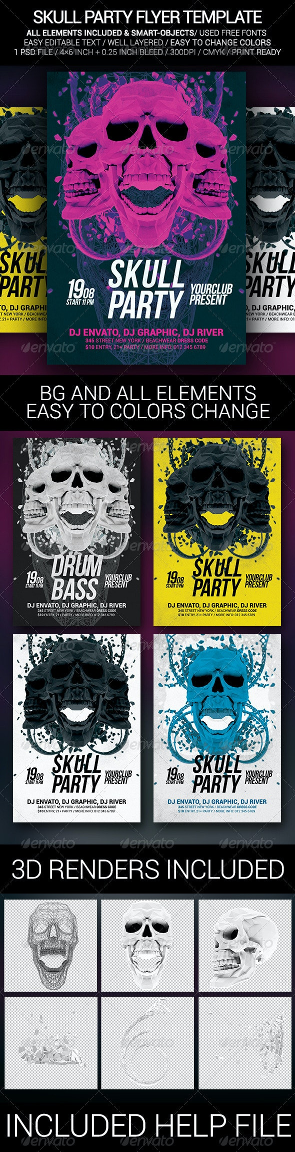 Skull Party Poster Template - Clubs & Parties Events
