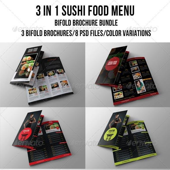 3 in 1 Sushi Food Menu BiFold Brochure Bundle 01