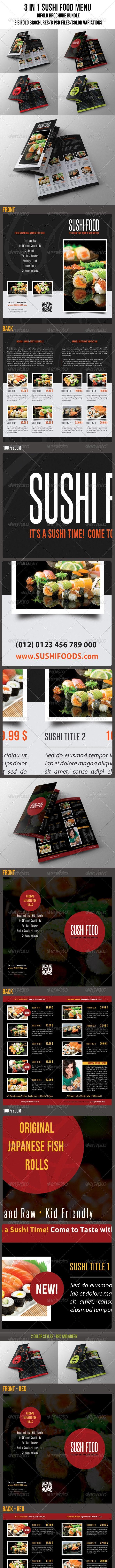 3 in 1 Sushi Food Menu BiFold Brochure Bundle 01 - Food Menus Print Templates