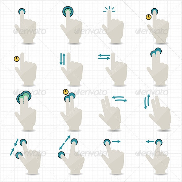 Touch Gestures and Hand Icons - Miscellaneous Icons