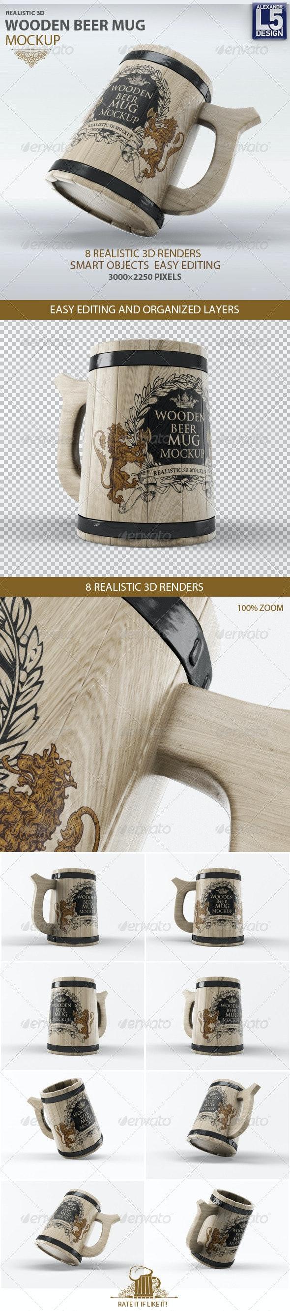 Wooden Beer Mug Mock-Up - Product Mock-Ups Graphics