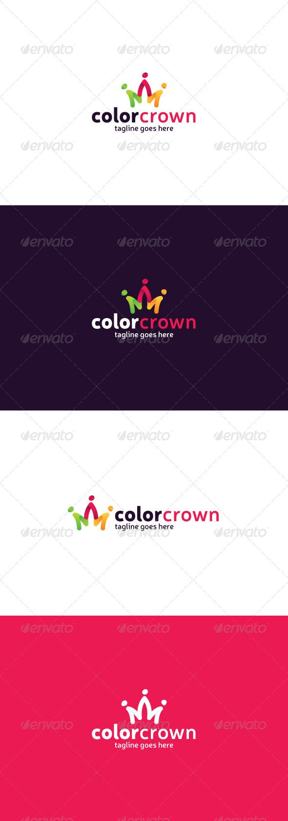 Color Crown Logo - Vector Abstract