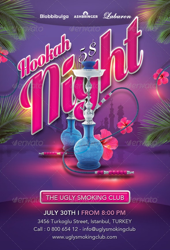 Smoking Hookah Night In Istanbul Club - Events Flyers