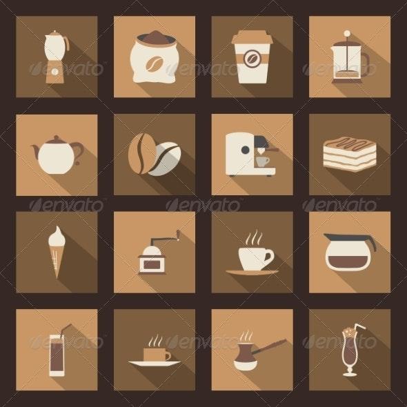Coffee Flat Icons Set - Web Technology