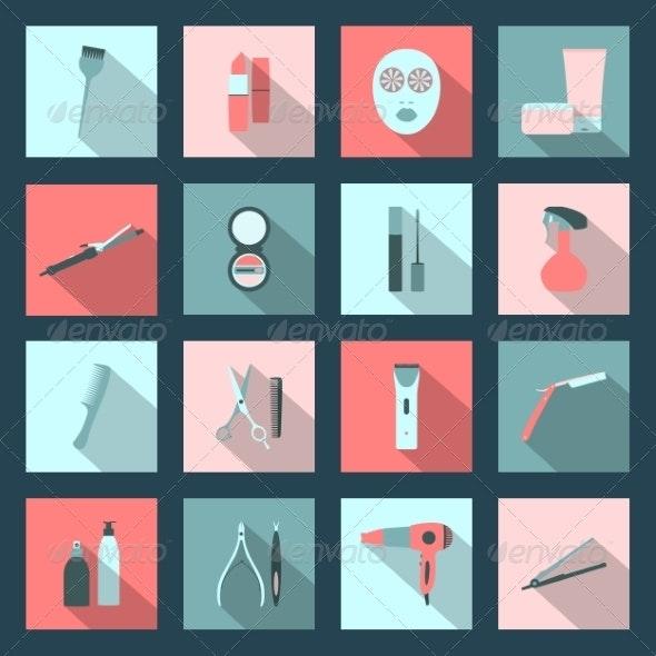 Beauty Salon Flat Icons Set - Miscellaneous Conceptual