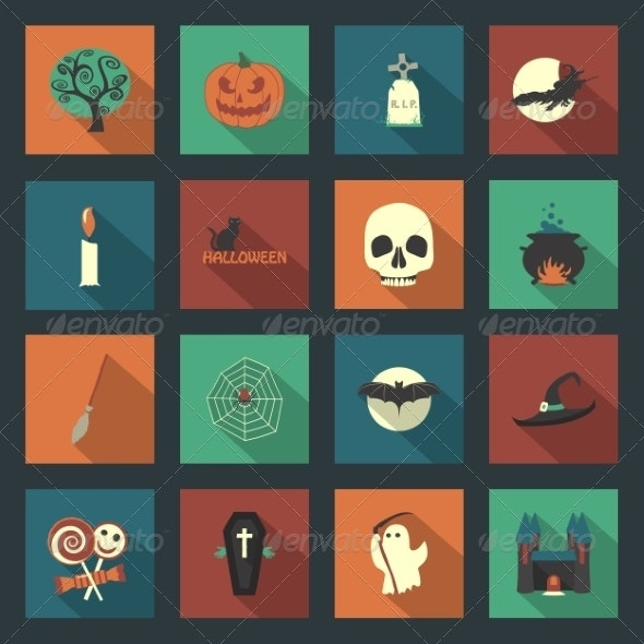 Halloween Flat Icons Set - Halloween Seasons/Holidays
