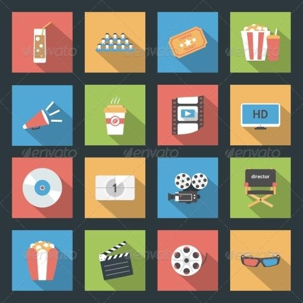 Cinema Flat Icons Set - Web Technology