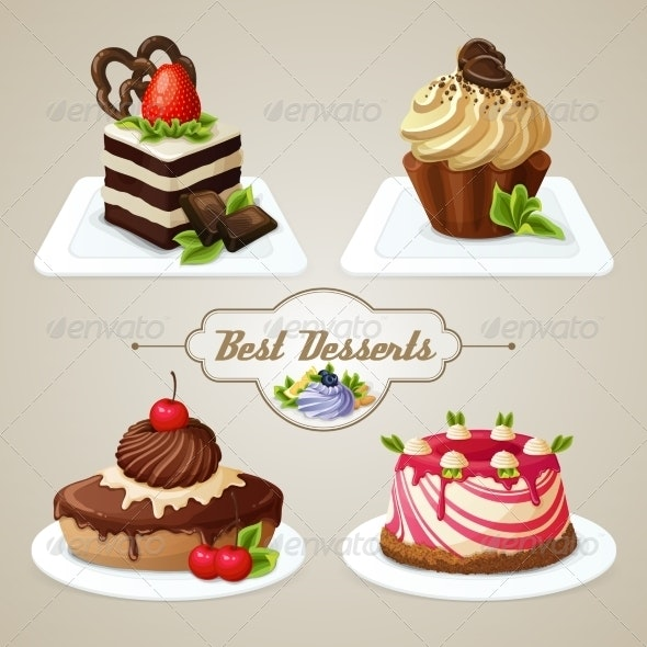 Sweets Cakes Dessert Set - Food Objects