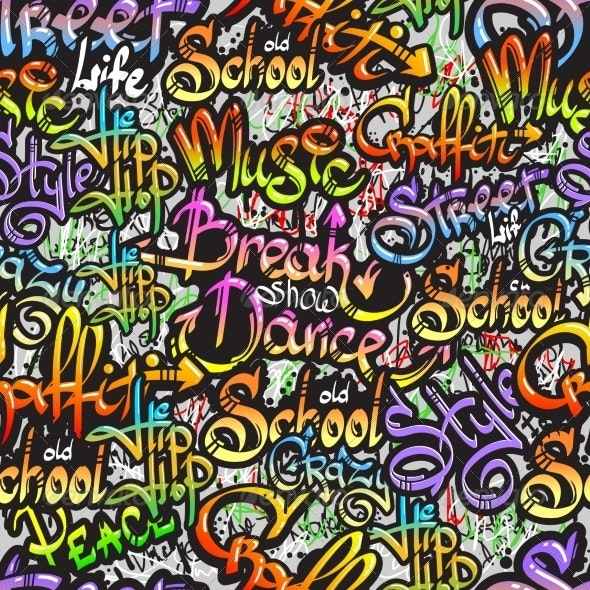 Graffiti Word Seamless Pattern - Miscellaneous Vectors