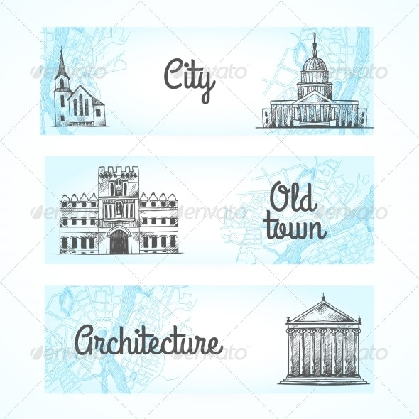 Set of Banners with Buildings - Backgrounds Decorative