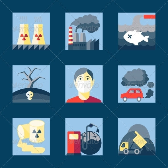 Set of Pollution Icons - Web Elements Vectors