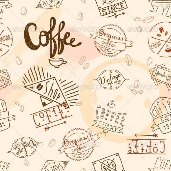 Seamless Vintage Retro Coffee  - Backgrounds Decorative