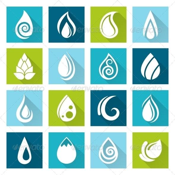 Set of Water Drops Icons - Web Elements Vectors