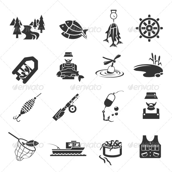 Set of Fishing Icons - Icons