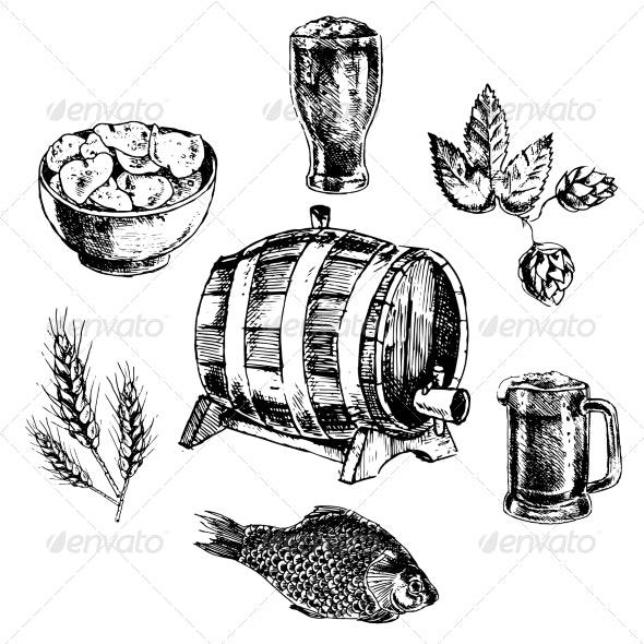 Beer Icon Set - Decorative Symbols Decorative